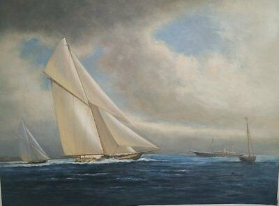 oil painting of sail boat, original oil on canvas