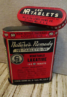 Vintage Medical Advertising Tin-NATURE'S REMEDY-LEWIS HOWE Co.-Laxative-Health