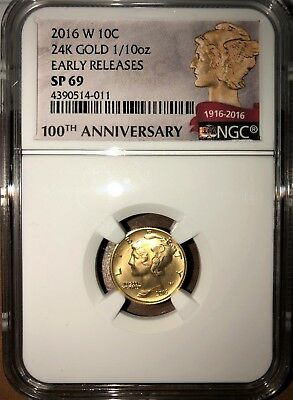 2016 W Mercury Dime Gold Centennial Commemorative Coin With Ogp Ngc Sp-69