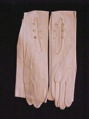 "Vintage White Kid Leather 22"" Opera Length Gloves Faux Pearl Buttons Formal"