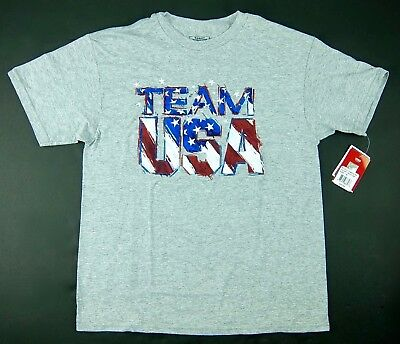 07c23dc46e OLYMPIC TEAM USA Boys T-Shirt Gray with Red White Blue USA Graphic Size M  10-12