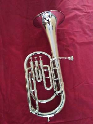 Altohorn Made Of Pure Brass Eb Pitch Chrome Polish With Free Case & Mouthpiece