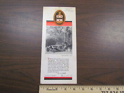 Vintage 1930 Cord front drive car / automobile sales brochure / literature E. L.