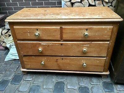 Farmhouse Bedroom Rustic Antique 2 on 2 Solid Pine Chest of Drawers 1900s