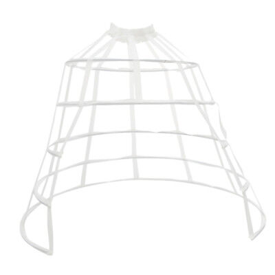 Crinoline Costume Cage 5Hoop Skirt Petticoat Pannier Bustle Front Open White
