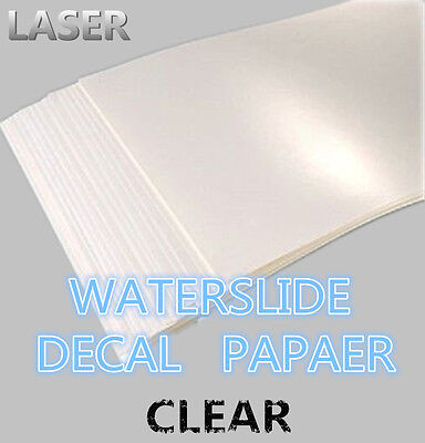 SZ04-LC A4 Laser Printer Water Slide Decal Paper 10 Sheets Clear