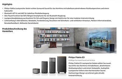 Philips Fidelio E5 - Lautsprecher Surround on Demand CSS7235Y/12 UVP.: 899€