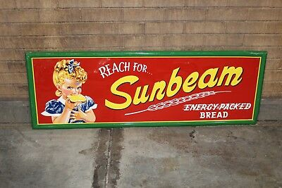 "1950s-60s Sunbeam Bread ""At its Best"" Tin Advertising Embossed Sign"