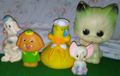 Mixed Lot Set Of 5 Vintage Collectible Rubber Animals