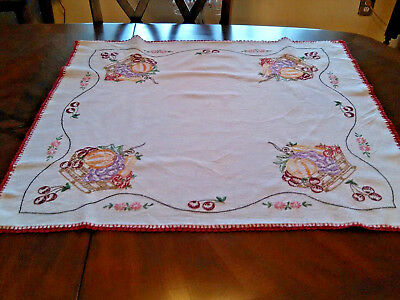 Vintage Hand Embroidered Cherries Tablecloth with napkins and Red Crochet Trim