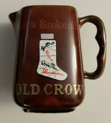 Vintage Old Crow Distillery Straight Bourbon Whiskey Pottery Pitcher Pub Jug