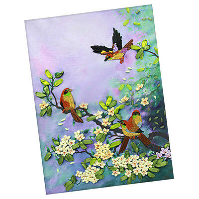 Handmade Ribbon Embroidery Kits DIY Bird Bouquet Painting Wall Decoration
