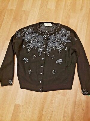 Vintage 50's Women's Cashmere Hand Beaded Sweater Cardigan Black Harilela's