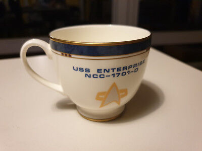 rare Original Pfaltzgraff Star Trek Tasse der USS Enterprise mit Goldrand rar