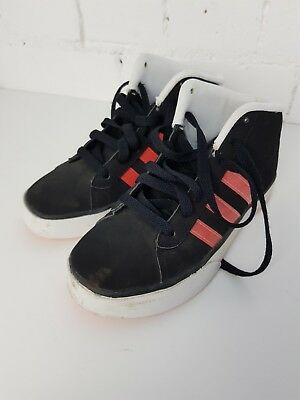 b95494f2c7699 Adidas Neo Daily Mid Top Junior Girls Trainers Casual Shoes black zest uk 3  vgc