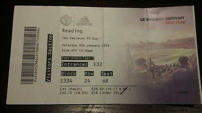 Manchester United FC v Reading 5/1/2019 Used Matchday Ticket FA Cup BN RARE
