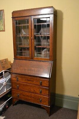 1930s Oak Bureau and bookcase with drawers below