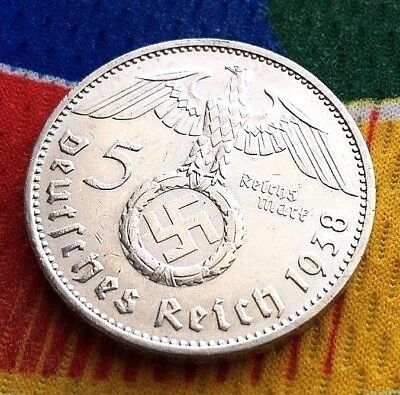 1938 E 5 Mark WW2 German Silver Coin  Third Reich Reichsmark