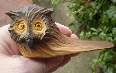 Vintage Carved Wooden Owl Door Stop - August Runggaldier - Black Forest ??