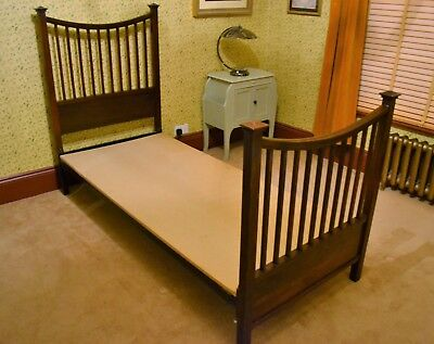 Original Edwardian Wooden Single Bed with Head and Foot Board