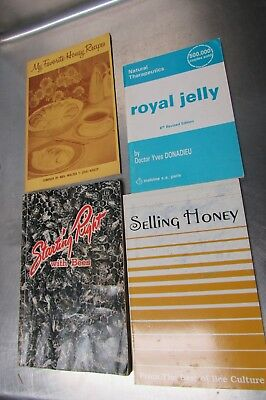 Assorted beekeeping books, honey, propolis, cooking selling, and keeping