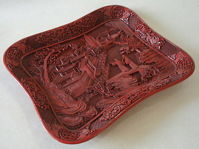 Antique Chinese Cinnabar Lacquer Decorated Tray – Highly Detailed
