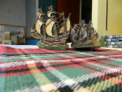 pair of painted galleon bookends