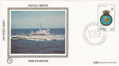 (23699) CLEARANCE Gibraltar Benham Cover HMS Feraless Naval Crests 1 July 1983