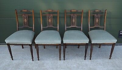 Set of 4 Antique Regency Inlaid Rosewood Upholstered Parlour Dining Chairs