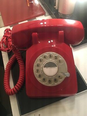 Retro Red Vintage Rotary Dial Telephone