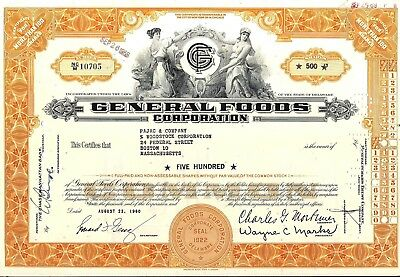 Stock certificate General Foods Corporation orange More Than 100 shares