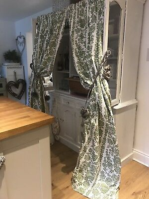 """LAURA ASHLEY Vintage Green/White Floral Damask Cotton Curtains Shabby Chic 86""""d"""