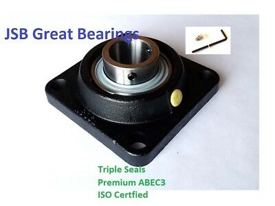 (Qty.10) Premium solid UCF208-24 triple seals ABEC3 square flange bearing 1-1/2