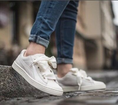 d915289410841c PUMA BASKET HEART NS Women s White Opulence Trainers Sneakers SZ 7.5 US NEW!