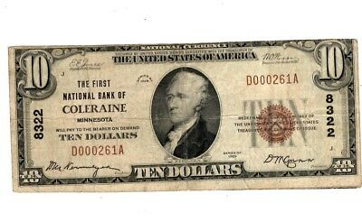 1929 The First National Bank COLERAINE MN $10 National Currency