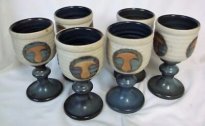 6 X Laugharne Stoneware Pottery Goblets