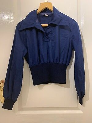Vintage Cropped Shirt Top Navy Blue