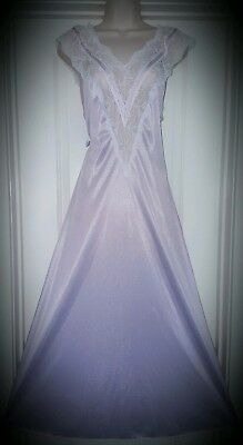 Vtg Purple Nylon Nightgown Gown Negligee with Satin and Lace M L