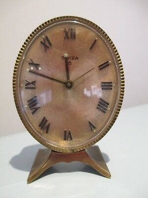 VINTAGE SMALL SWIZA OVAL-FACED BRASS ALARM CLOCK MANTEL (Working)