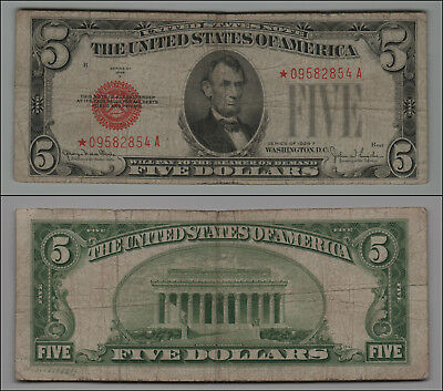 1928-F $5 Five Dollars *star* Red Seal United States Note Scarce Ltk910