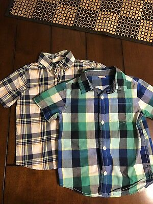 Lot Of 2 Gymboree Crazy 8 Boys 3T Plaid Shirts Short Sleeve Button Down Shirt