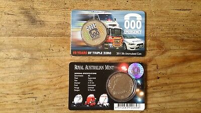 000 EMERGENCY...50 YEARS 2011...50C coin on card..Royal Aust Mint