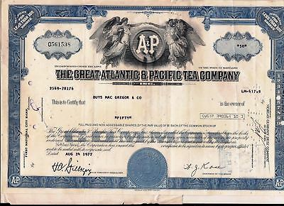 Stock certificate Great Atlantic & Pacific Tea Comp. Transfer stamps & documents