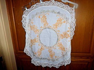 "Tablecloth White W/ 3"" Hand Crocheted Edge W/EMBROIDERY --Round-- Vintage"