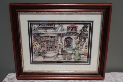 Vintage Anton Pieck Paper Tole 3D Framed Picture - Toy Shop - Shadow Box - Gc