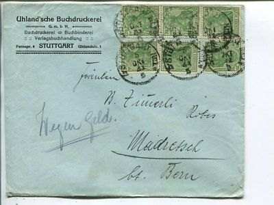 Germany 6x20pf on infla cover to Germany 5.10.1921