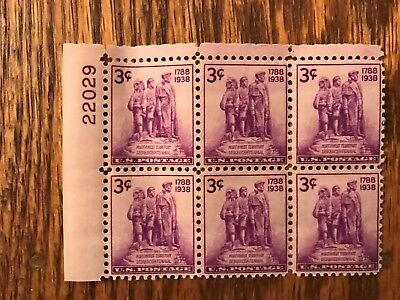 US Stamps - Plate Block 837, MINT Never Hinged, (block of six stamps)