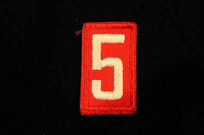 Boy Cub Scout Troop Pack Number # 5 Patch - Red & White Embroidered - Bsa