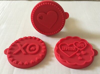 NIP Williams Sonoma Valentine Love Cookie Stamps XO, BE MINE, HEART Set Of 3
