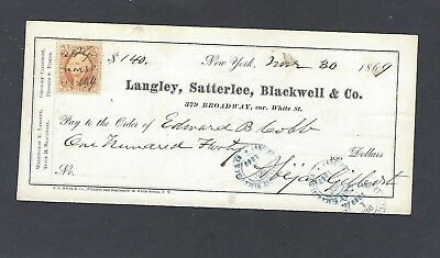 1869 Langley,satterlee,blackwell & Co,new York,ny Bank Check